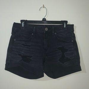 Black ripped American Eagle jean shorts